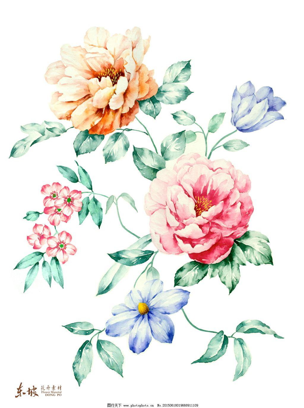 三色手绘花