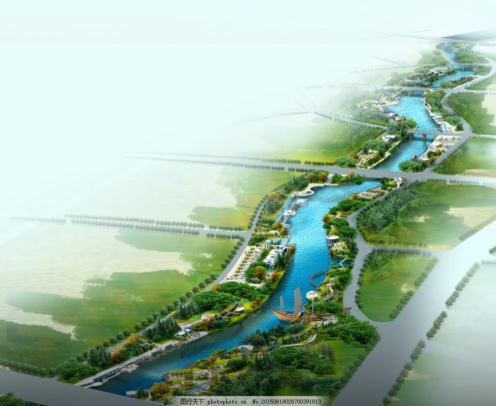 河道效果图 水 道路 绿地 滨河景观 商业区 设计 环境设计 景观设计