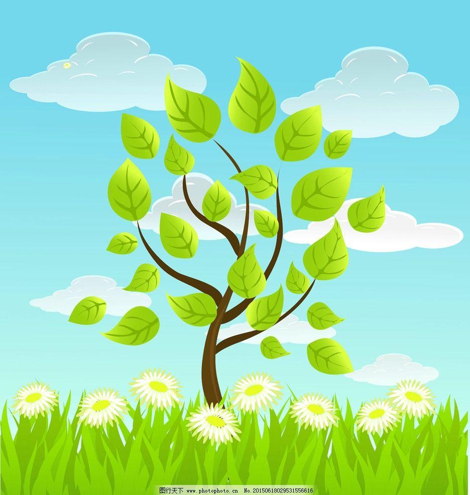 卡通绿色环保背景图片