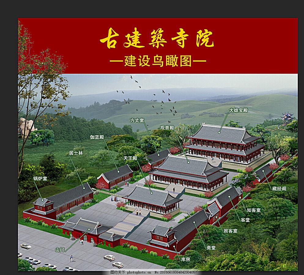 寺庙鸟瞰图图片