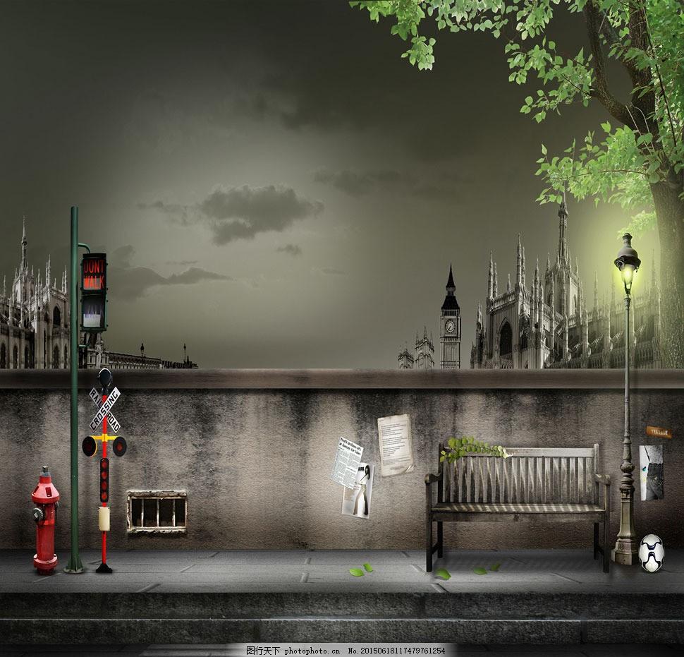茂盛大树马路风光影楼摄影背景 影楼素材 影楼背景 喷绘背景 高清背景图片