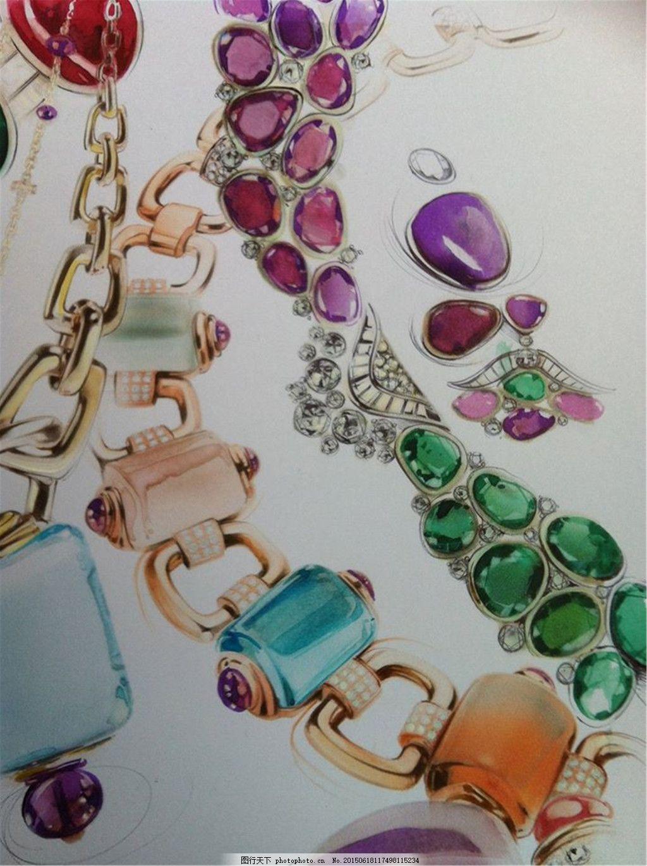手绘彩色晶莹珠宝链首饰设计素材