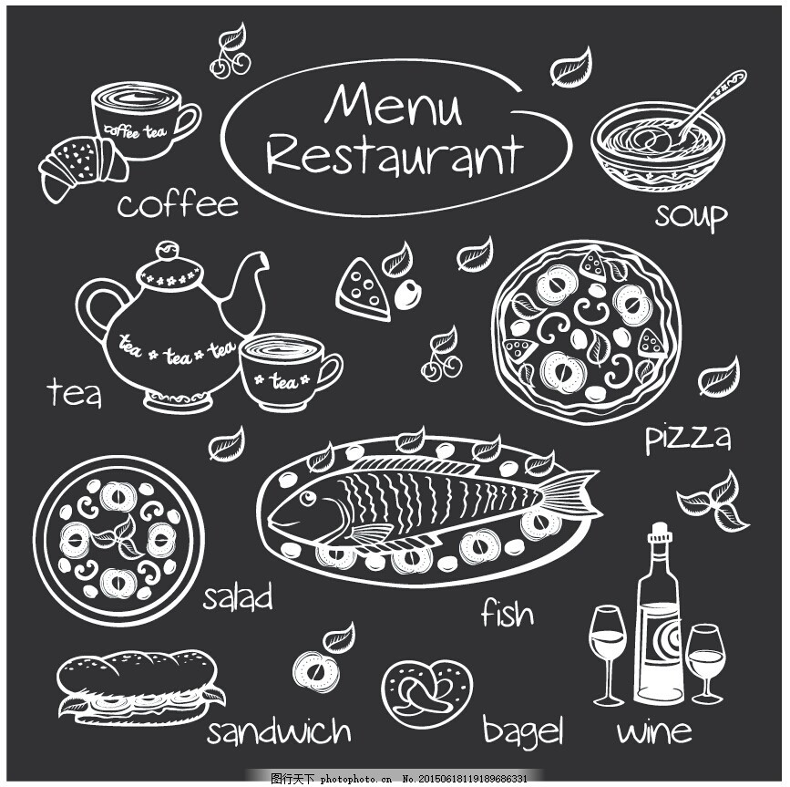 欧美黑板手绘食物素材 手绘 矢量 餐饮 欧美 eps 黑色 eps