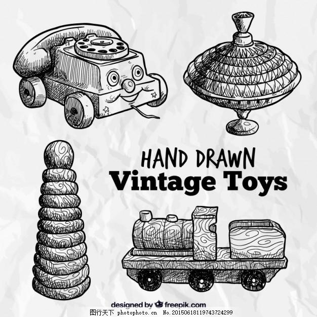 手绘的老式玩具 复古 电话 火车 绘画 复古复古 绘制 粗略 白色