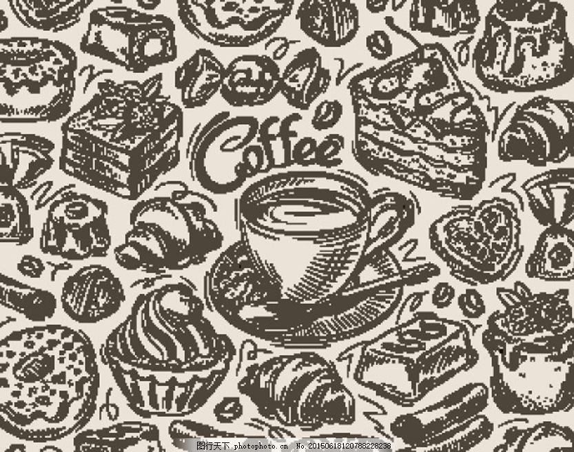 手绘食物矢量 手绘食物设计矢量素材 美食 美味食品 欧式美食 黑白