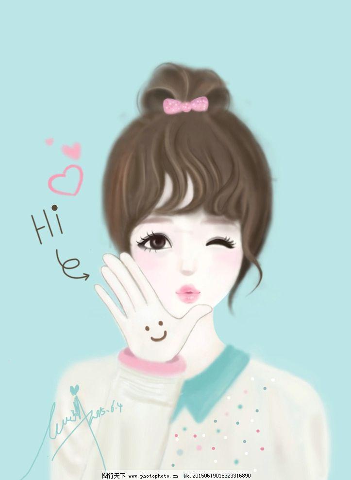 韩版插画 可爱素材 卡通女孩