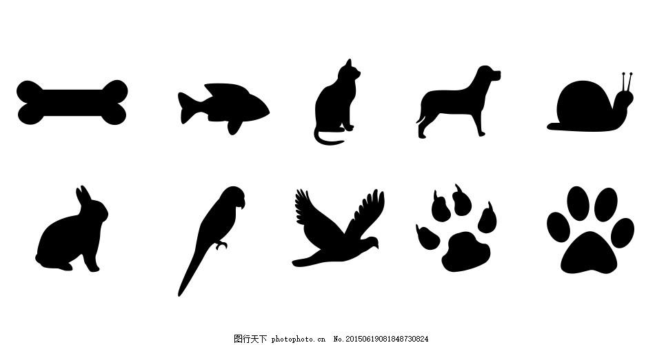 各种各样动物psd剪影 小白兔剪影 动物剪影 动物脚印 psd 白色