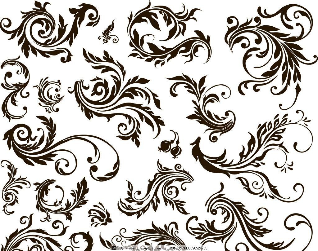 卷曲藤蔓边框手绘