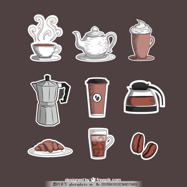 咖啡 图标 手 手绘 店 饮料 咖啡杯 杯 绘画 咖啡店 手形图标 画 杯子