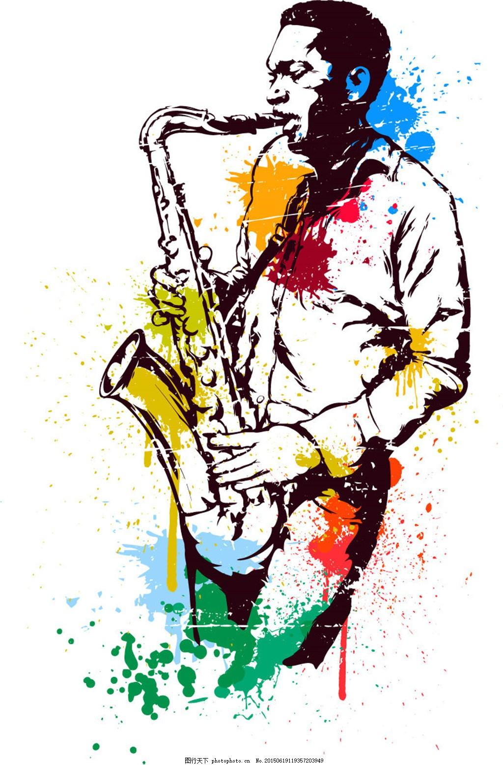 水彩绘萨克斯手矢量素材 音乐 墨迹 喷溅 矢量图 广告设计 白色