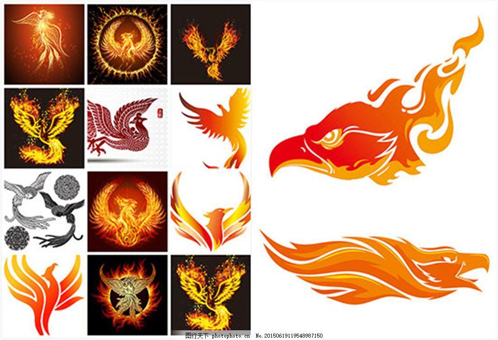 雄鹰火焰印花图案矢量图片