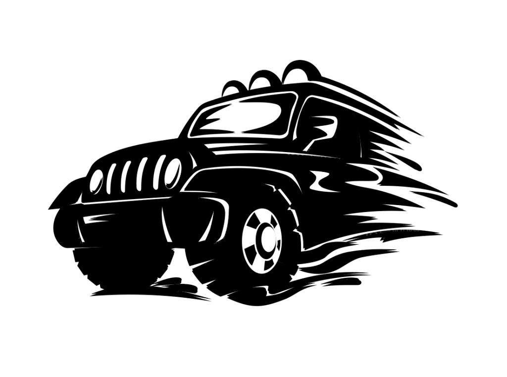 吉普车图标 飞奔的越野车      黑色越野 suv eps 白色 eps logo suv