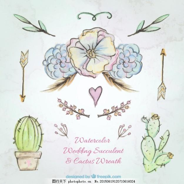 手绘水彩花和仙人掌