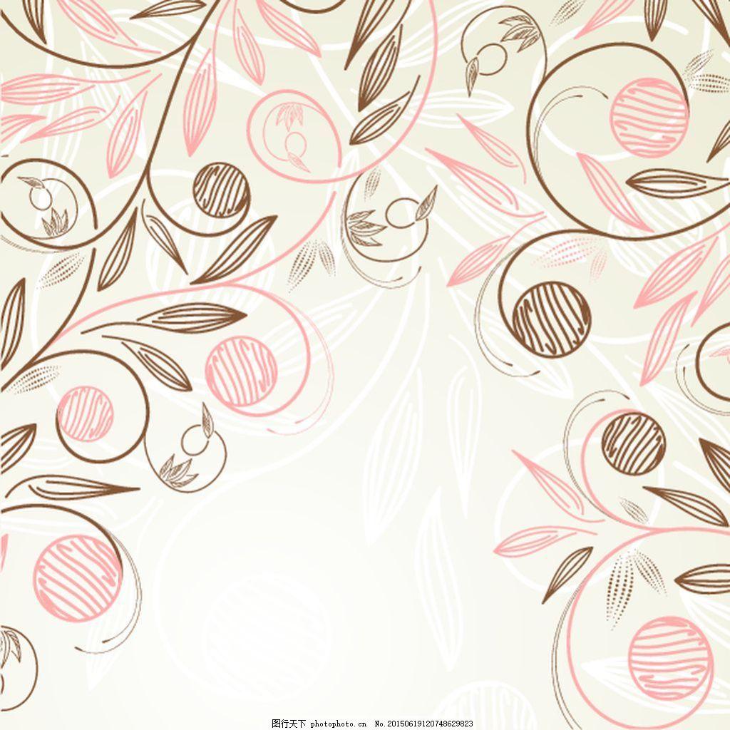 手绘花矢量图素材 花纹矢量背景 颜色色块背景 公告板花纹 动感线面