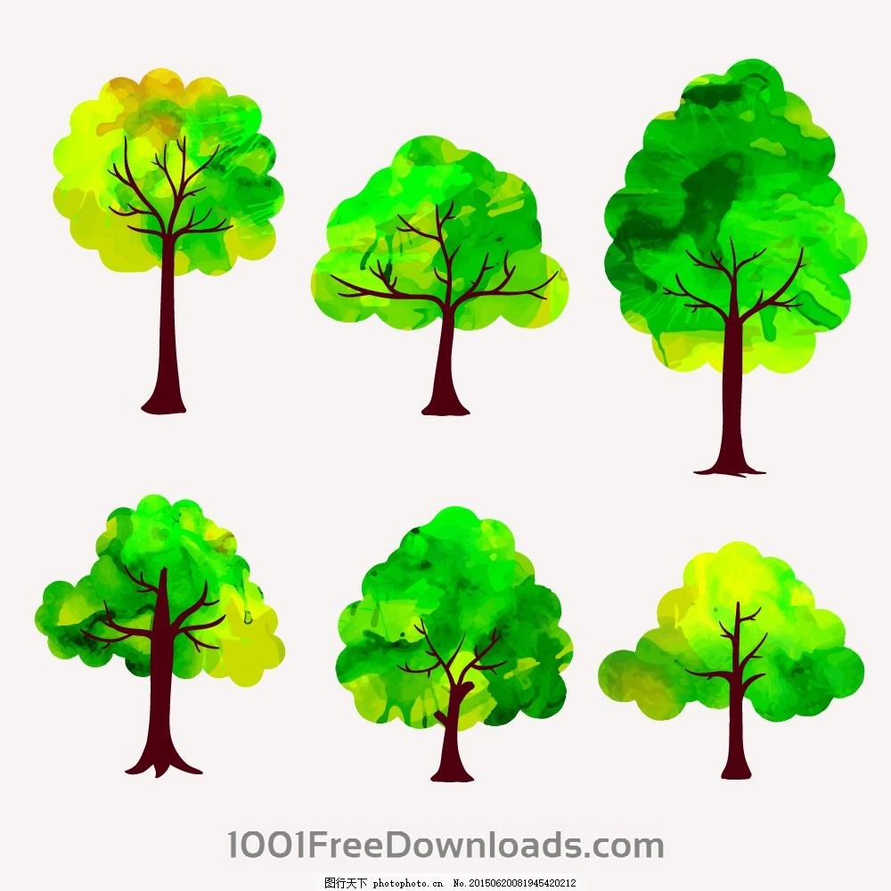 矢量树木 绿叶 绿植 树叶 绿树 手绘树木 树木贴图 植物 园林