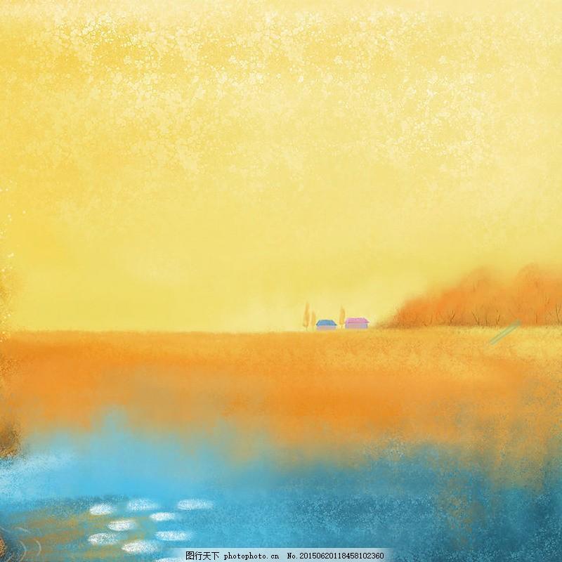 黄色卡通背景 黄色 卡通 手绘小房子 psd
