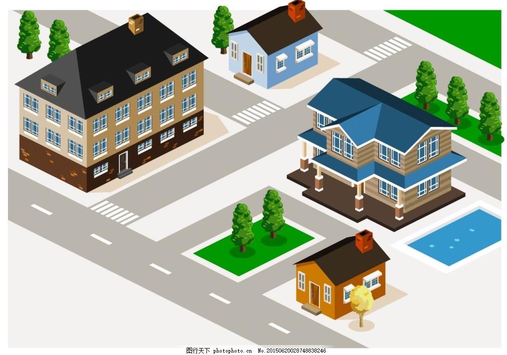 立体街道房屋矢量