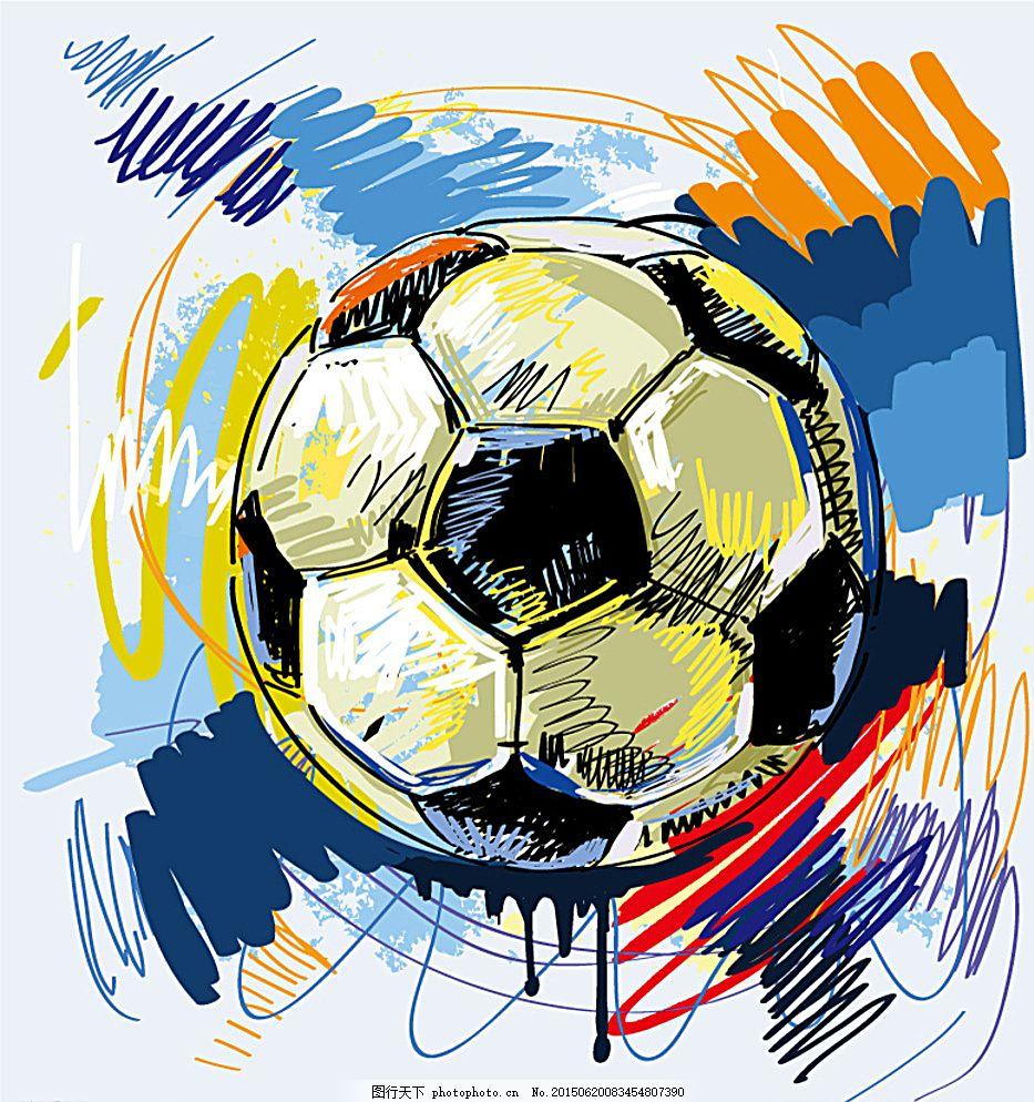 彩绘足球插画矢量素材 彩绘 足球 彩铅 线绘 手绘 涂鸦 线描 绘画