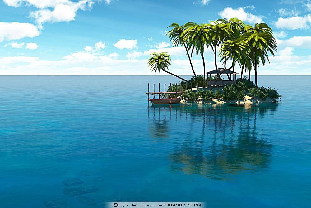 小岛风景 海岛风景 椰树 岛屿 美丽风景 美丽景色 自然美景 风景摄影