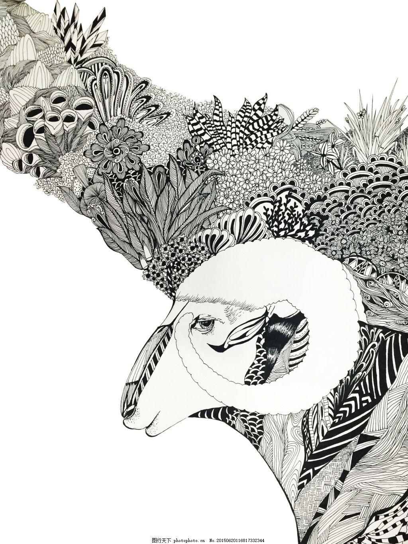 羊手绘 手绘 线描 插画 黑白 动物 植物     白色 jpg