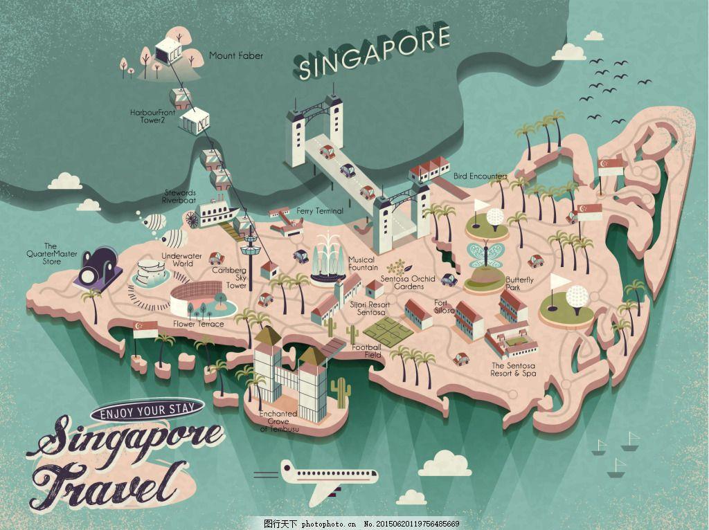 卡通旅游攻略 可爱 卡通地图 扁平化地图 手绘 景点介绍 绿色