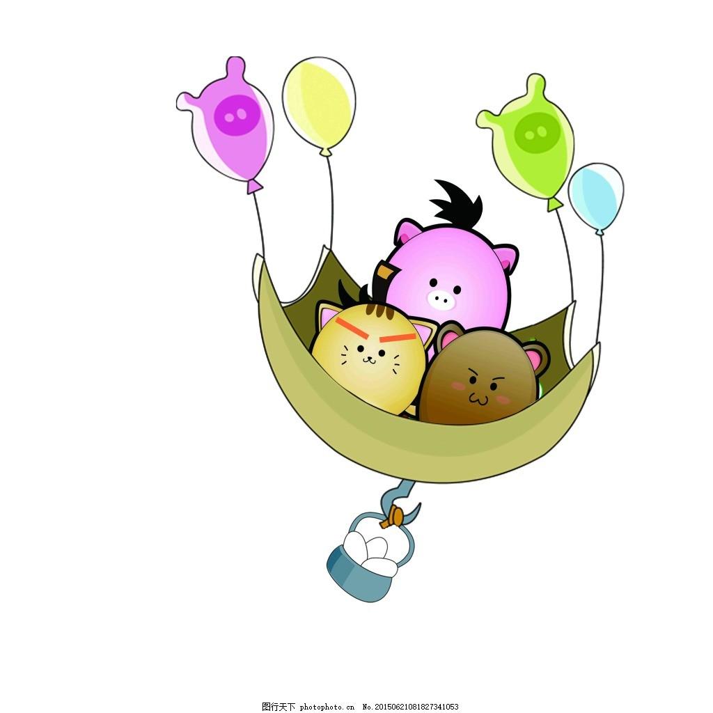 卡通动物 愤怒的小鸟 气球 白色
