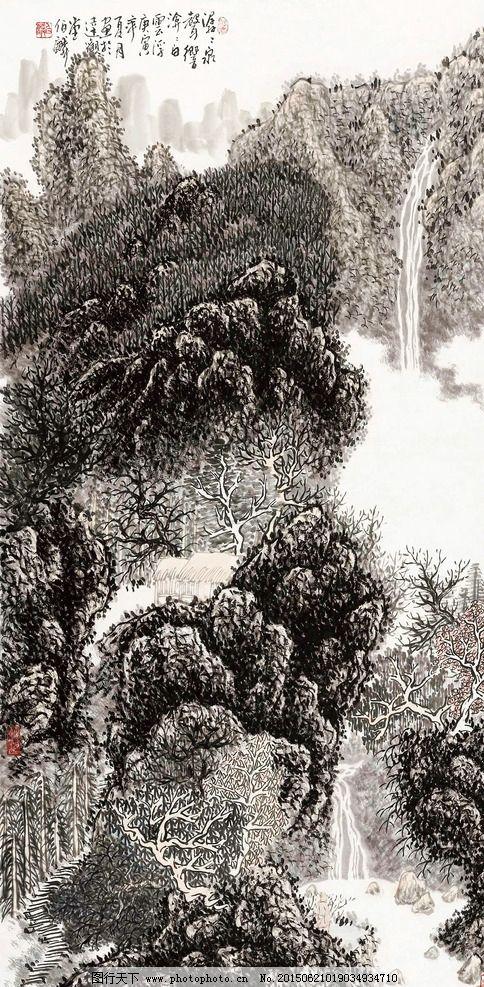 国画 山水 树木 河流 小路 茅舍 艺术绘画 设计 文化艺术 绘画书法 72