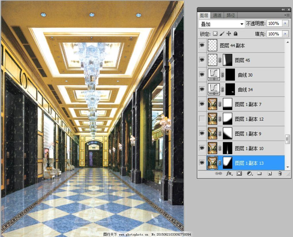 陶瓷效果图铺砖 酒店过道空间 全抛釉瓷砖铺 瓷片砖瓷 砖铺贴图