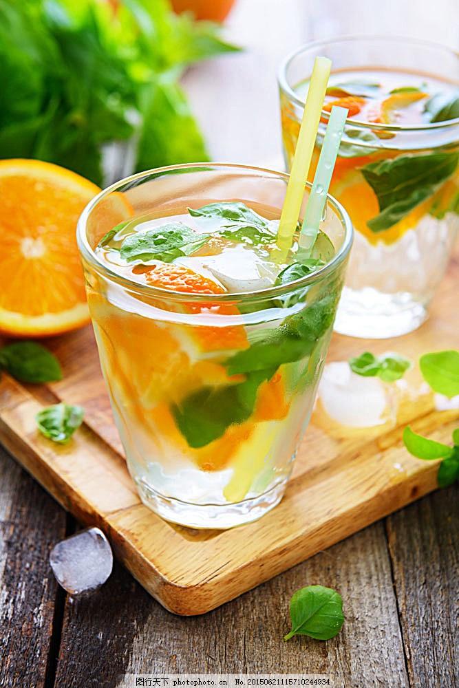冰水冲咖啡_美味的橘子饮料 酒 玻璃杯子 图标 薄荷冰水 柠檬 冰块 酒水饮料
