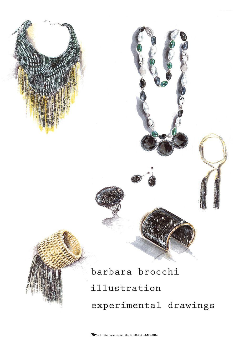 创意手链项链图片设计 手绘 珠宝 时尚 潮流 新颖 美丽 白色