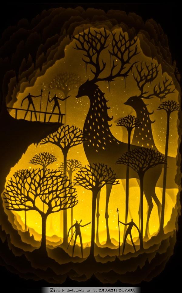 纸雕图纸鹿
