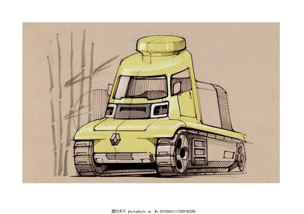手绘图 产品概念图 汽车 白色
