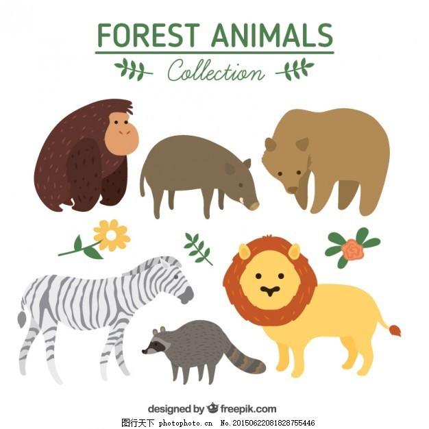 手绘可爱的野生动物 花 自然 狮子 手画 森林 树叶 熊 斑马