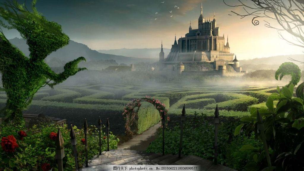 梦幻童话森林城堡背景