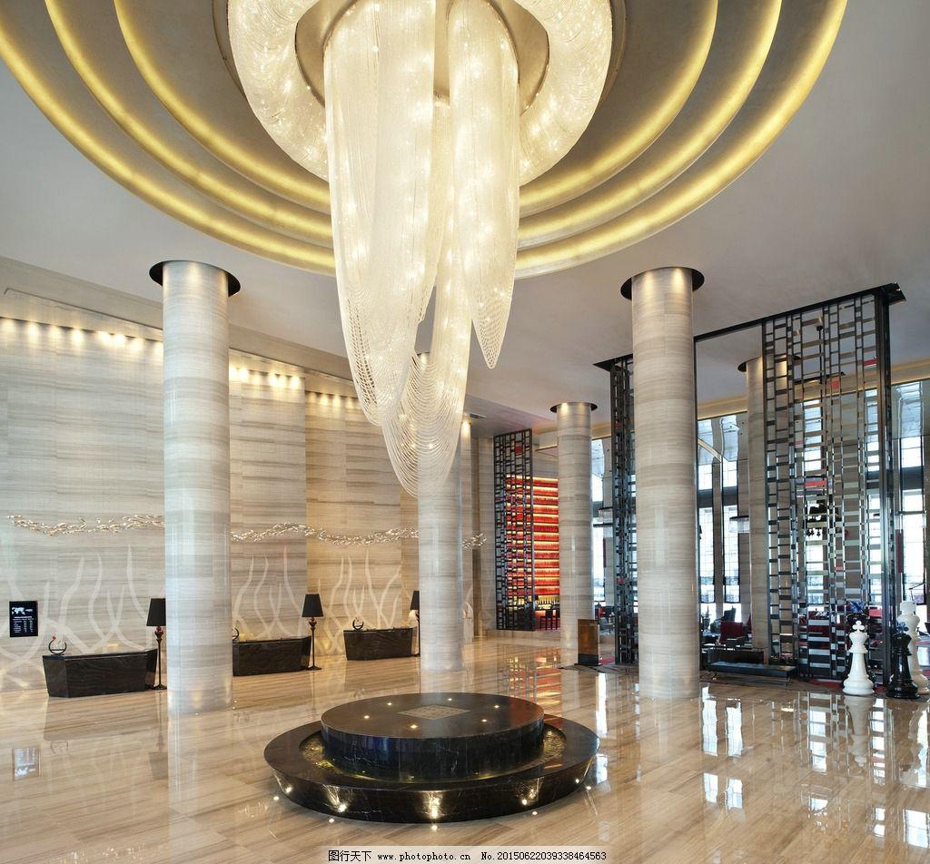 简欧        抛光地砖 背景墙 大堂 酒店大堂 室内效果图 吊灯 摄影