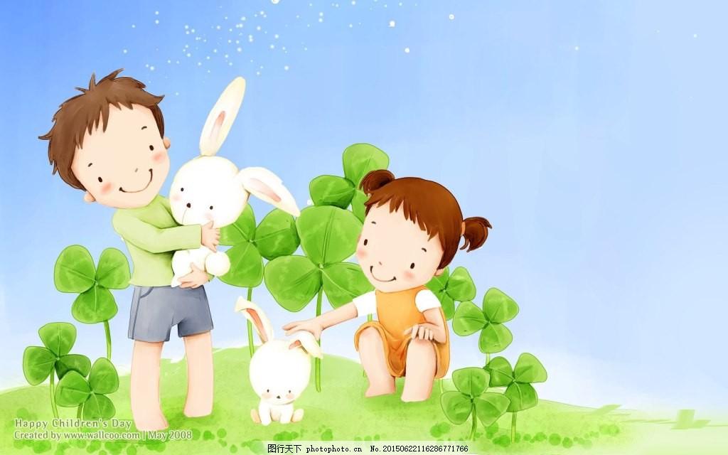 手绘插画兔子壁纸 梦幻 可爱 儿童 卡哇伊 绿色