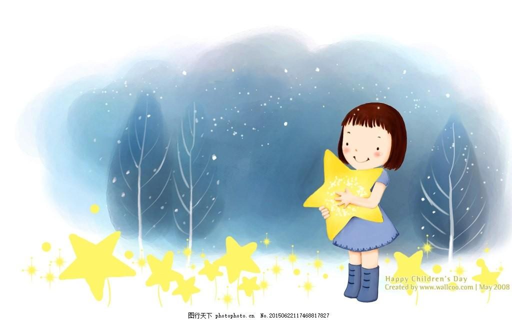 手绘插画星星壁纸 手绘 插画 壁纸 梦幻 可爱 儿童     白色 jpg