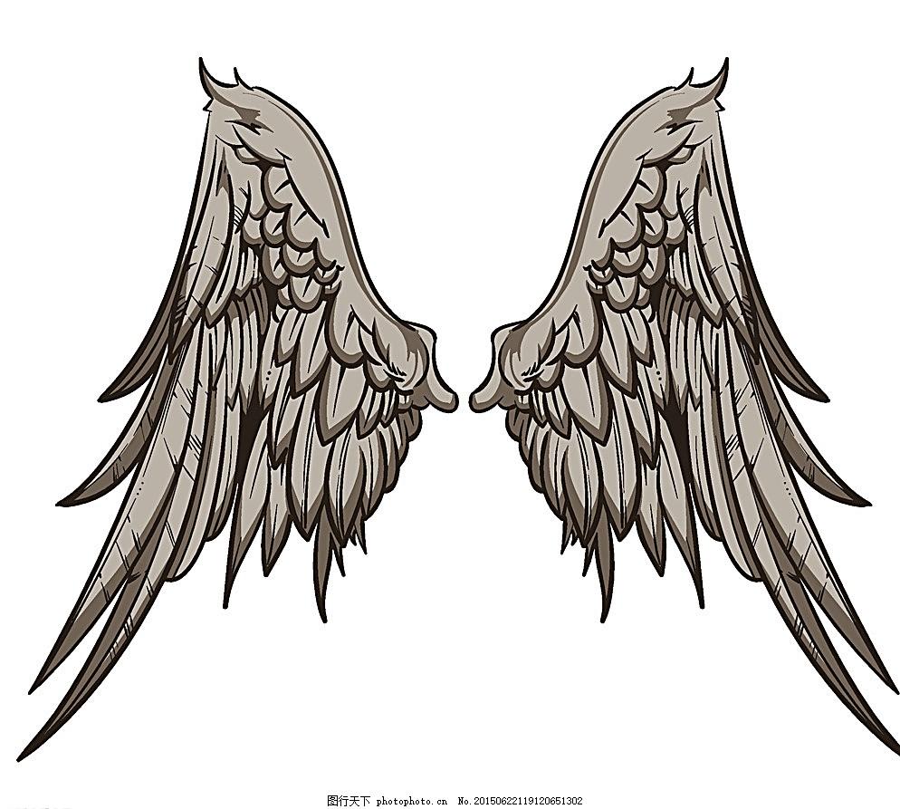 羽毛 天使翅膀 翅膀设计 翅膀素材 鸟类翅膀 纹身图案 手绘 设计 矢