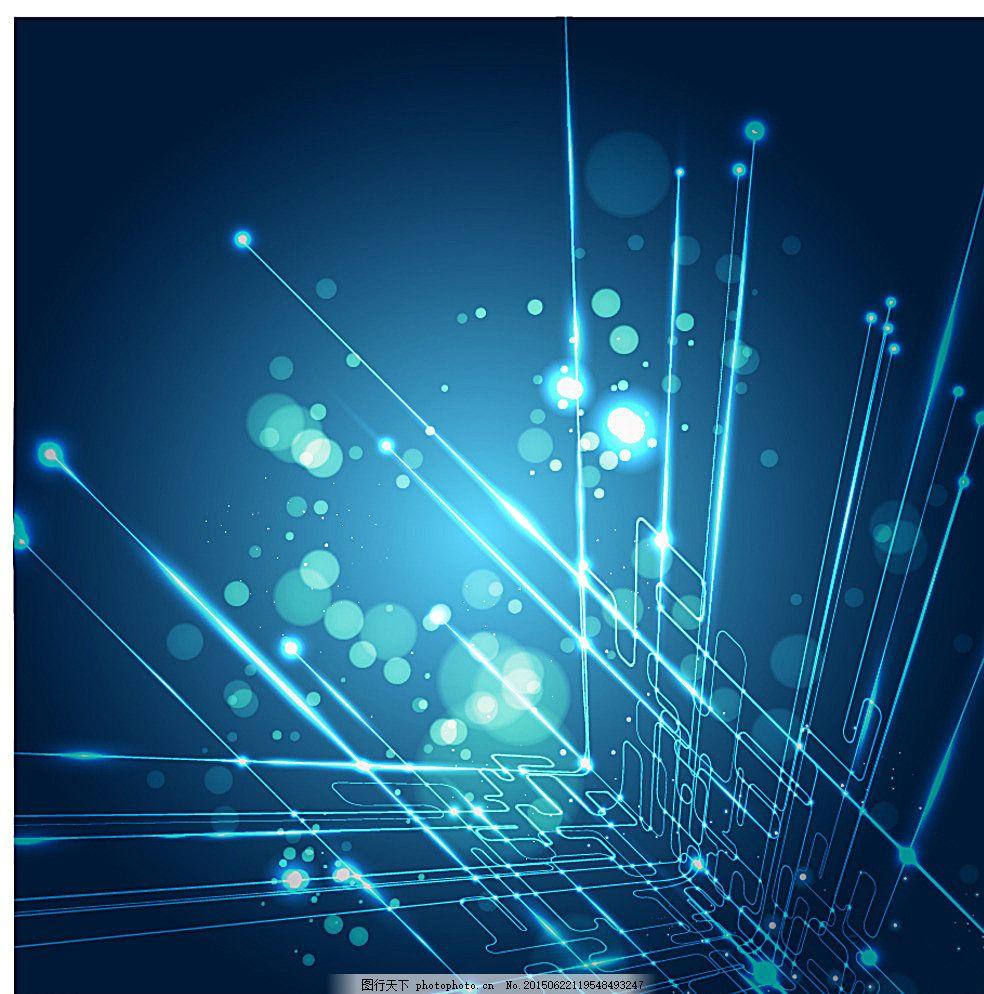 深科技炫彩蓝 电路图 三维 科技背景 多彩背景 现代科技 动感科技