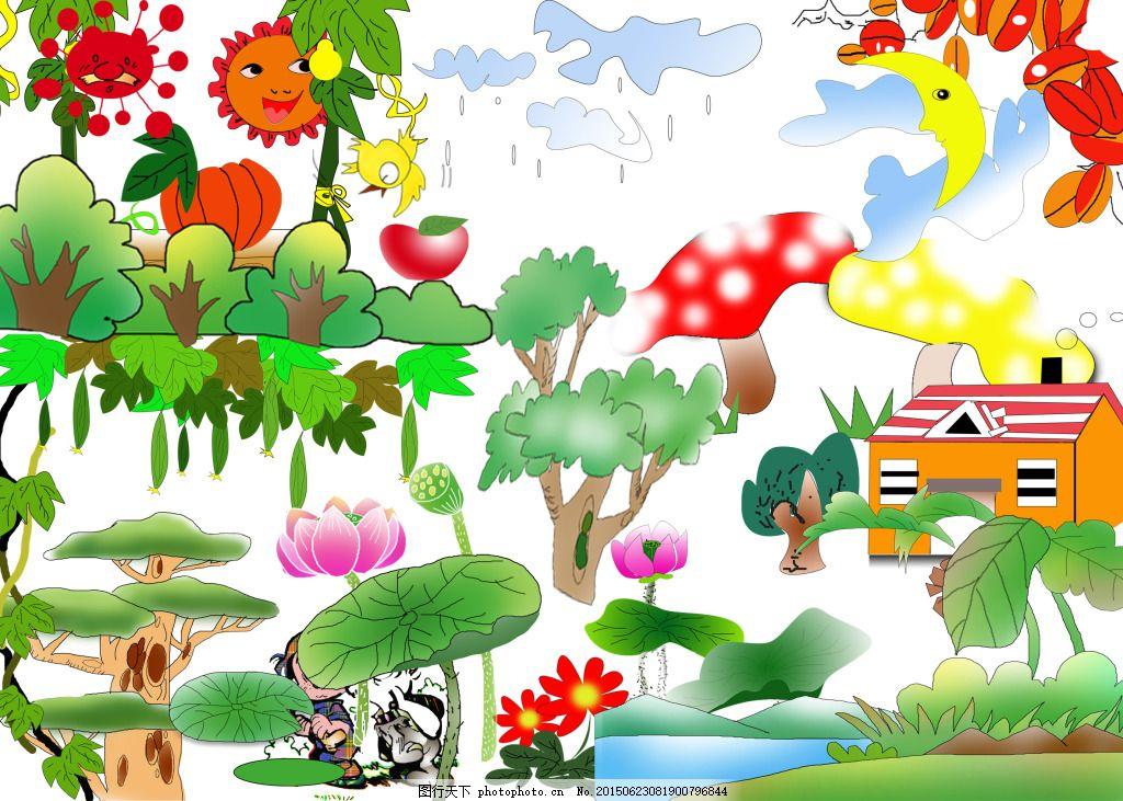 儿童画psd原件素材 绘画 荷叶 植物 白色