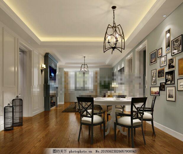 简欧餐厅效果图 实木厨柜 餐桌 线条吊顶 罗马柱 灰色图片