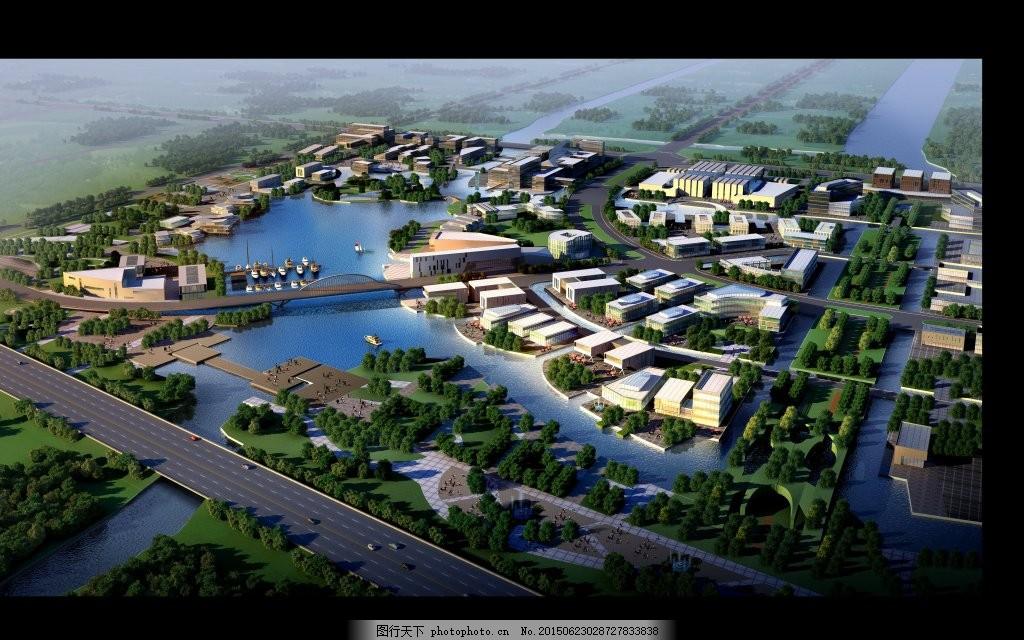 城市湿地公园鸟瞰效果图