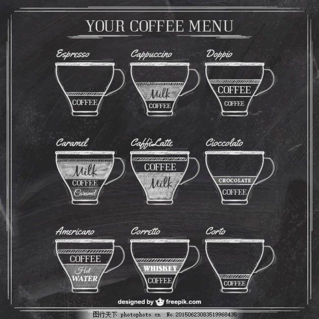 咖啡 菜单 手 黑板 手绘 饮料 咖啡杯 杯 绘画 插图 手绘图 绘制