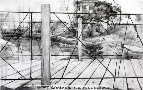 桥的素描特写 风景素描 设计素材 风景专辑 素描速写 书画美术