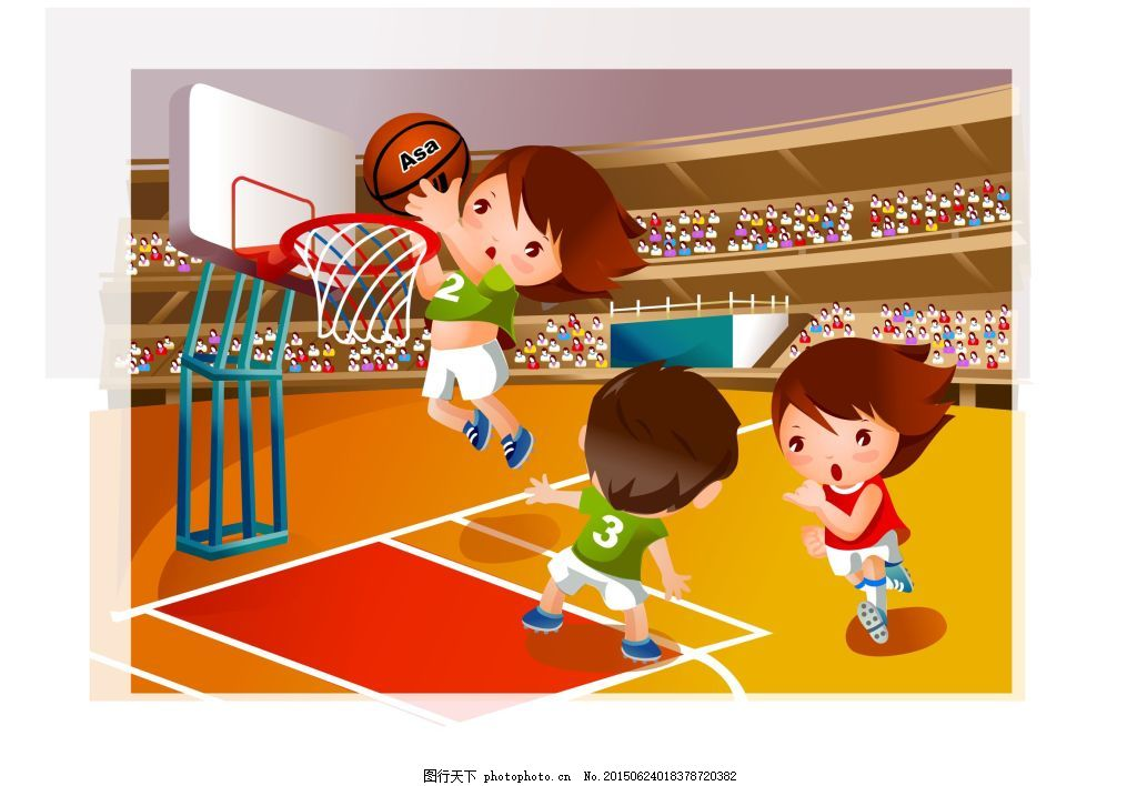 卡通人打篮球 cdr矢量图下载卡通人物 儿童 孩子 可爱 体育运动 篮球