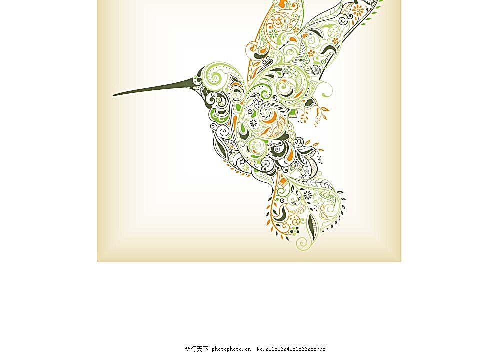 动物插画 时尚花纹 卡通鸟 陆地动物 生物世界 矢量素材 白色