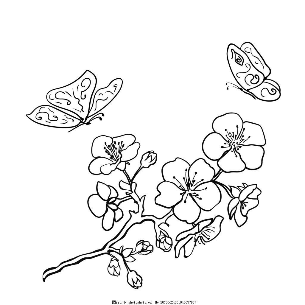 白描花朵 手绘 植物 白色