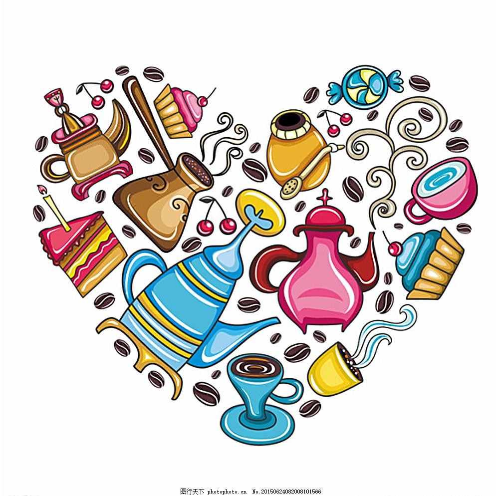 卡通 美食 食物 线条 彩色 瓶子 咖啡 设计 其他 图片素材 eps 白色