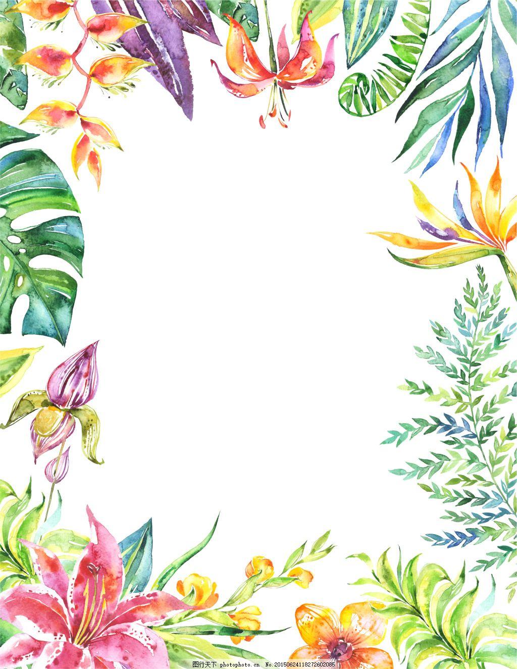海报背景唯美梦幻花卉绿叶图片
