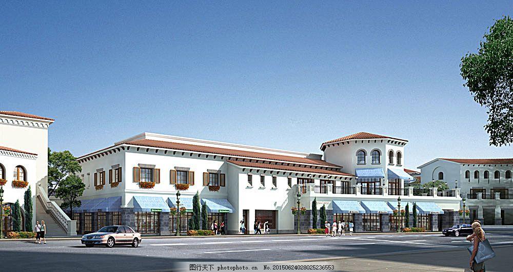 景观设计 3d效果图 欧式建筑 餐厅 餐馆 酒楼 宾馆 透视图 园林景观